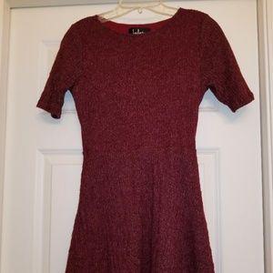 Red Short Sleeve Sweater Dress in Women